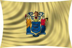 Flag of New Jersey waving isolated on white Kuvituskuvat