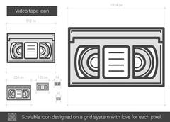 Video tape line icon Stock Illustration