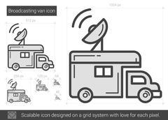 Broadcasting van line icon Stock Illustration