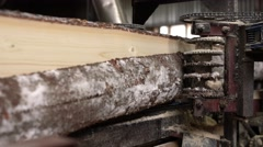 Wood industry. View of log is sawn into boards Stock Footage