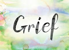 Grief Colorful Watercolor and Ink Word Art Stock Illustration