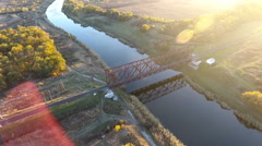 The view from the height on the railroad bridge and the river, the railway Stock Footage