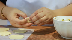 How to make ravioli yogurt recipe pasta ravioli dough kneading dough filling Stock Footage