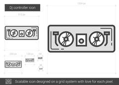 Dj controller line icon Stock Illustration