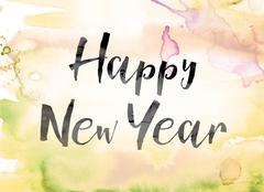 Happy New Year Colorful Watercolor and Ink Word Art Piirros