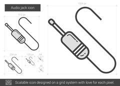Audio jack line icon Stock Illustration