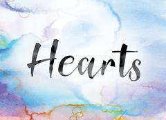 Hearts Colorful Watercolor and Ink Word Art Stock Illustration