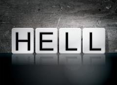 Hell Tiled Letters Concept and Theme Stock Illustration