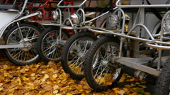 Bicycle parking in autumn day Stock Footage