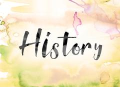 History Colorful Watercolor and Ink Word Art Stock Illustration