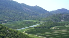 Panorama view of beautiful Neretva valley in southern Croatia Stock Footage