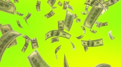 Falling Dollar on a Green Background Stock Footage