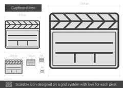 Clapboard line icon Stock Illustration