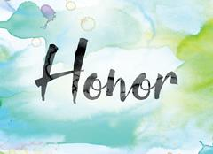 Honor Colorful Watercolor and Ink Word Art Stock Illustration