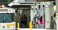 People waiting for a subway commuter train at metro station in Los Angeles 4K Stock Footage