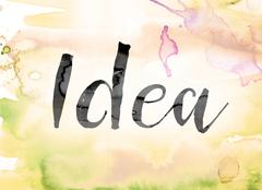Idea Colorful Watercolor and Ink Word Art Stock Illustration