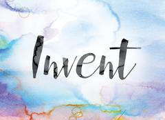 Invent Colorful Watercolor and Ink Word Art Stock Illustration