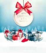 Christmas presents with a gift card and a ribbon. Vector. Stock Illustration