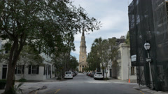 Charleston Street and Church Spire Steeple Stock Footage