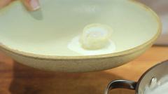 Plating final dish Shish Barak with Yoghurt Recipe Stock Footage