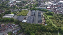 Titling aerial view of an industrial area. Stock Footage