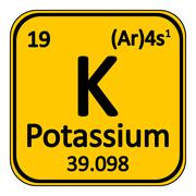 Periodic table element potassium icon. Stock Illustration