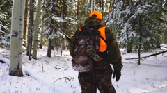Hunter in Snow Stock Footage