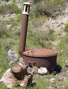 Outdoor hunting cooking pot Stock Photos