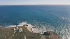 Aerial view of Point Conception Lighthouse Stock Footage