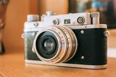 Old Vintage Small-Format Rangefinder Camera, 1950-1960s Stock Photos