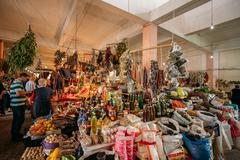 Abundant Bazar Counter Of Traditional Georgian Goods For Sale At Stock Photos