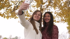 Two pretty girls walking in autumn park and make selfie Stock Footage