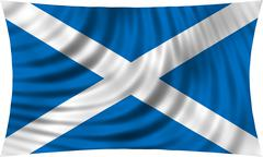 Flag of Scotland waving isolated on white Stock Photos