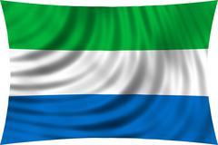 Flag of Sierra Leone waving isolated on white Stock Photos