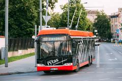 Vilnius, Lithuania. City Black Red Trolleybus Riding On Route Number Seventeen Stock Photos