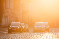 Vilnius Lithuania. Seat Leon, Volkswagen Eco Up Cars At Head Of Traffic On Stock Photos