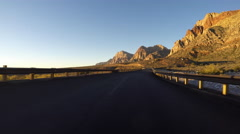Red Rock Canyon National Conservation Area Sunrise Driving Stock Footage