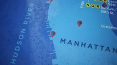 Overhead View of Colorful Manhattan New York City Map Stock Footage