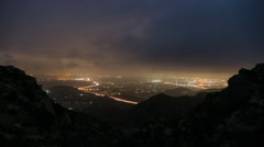 Los Angeles Fog Night to Dawn Time Lapse with Zoom In Stock Footage