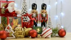 Festive Christmas ornaments with vintage Santa music box. Stock Footage