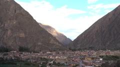 Ollantaytambo Inca archeological site pan up Stock Footage