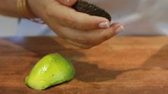 Yogurt soup in green colors to peel avocado  Stock Footage
