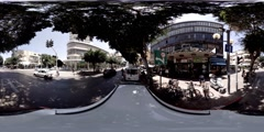 Dizengoff St and corner of Frishman St in Tel Aviv, Israel, 360 video VR Stock Footage