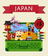 Japan travel banner with famous attractions. Stock Illustration