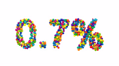 Point seven percent made from colorful balls Stock Footage