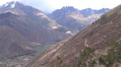 Sacred Valley Overlook Pan in Peru Stock Footage