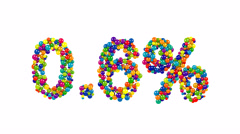 Point six percent made from colorfull balls Stock Footage