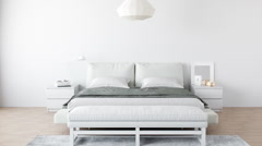 Minimalist Modern Bedroom Interior Stock Footage
