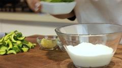 Cucumber yogurt soup colors in colors Stock Footage