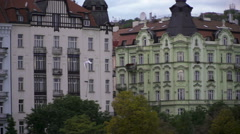 A seagull flying Slow in motion above the Vltava river in the Prague Stock Footage